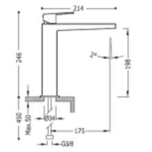 Robinet mitigeur de lavabo moyen levier PROJECT-TRES
