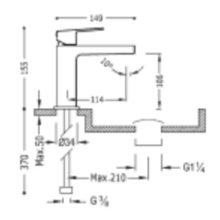 Robinet mitigeur de lavabo noir avec levier PROJECT-TRES
