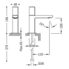 Robinet de lavabo 1 eau ou pré-mélangée PROJECT-TRES