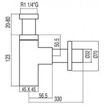 Siphon pour lavabo télescopique carré TRES