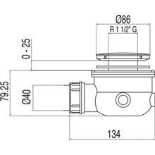 Bonde de vidage avec siphon pour receveur de douche Ø86 TRES