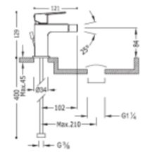 Robinet mitigeur de bidet avec levier en INOX PROJECT TRES