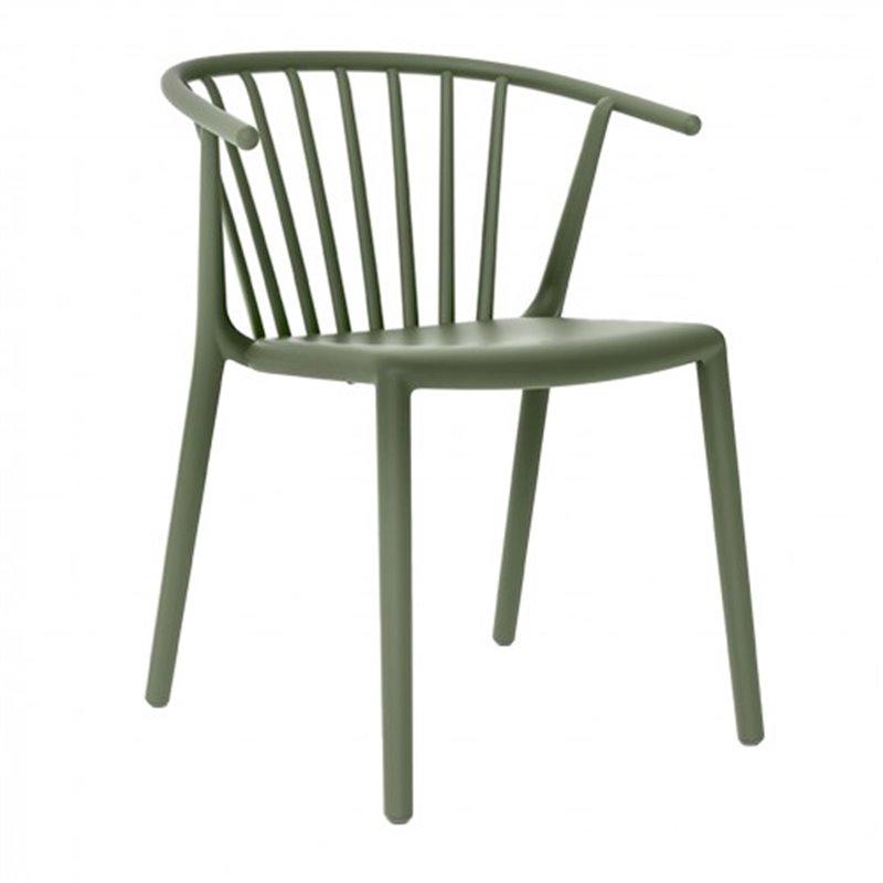 Lot de 2 chaises gris vert avec accoudoirs Woody Resol