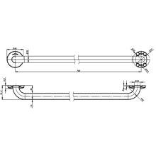 Barre d'appui droite 84 cm brillante Medinox Mediclinics