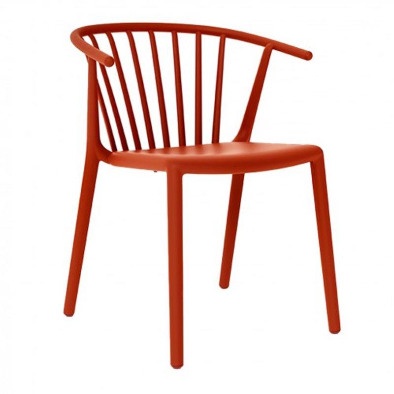 Lot de 2 chaises rouges avec accoudoirs WOODY Resol