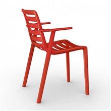 : Lot de 2 chaises rouges avec accoudoirs Steely