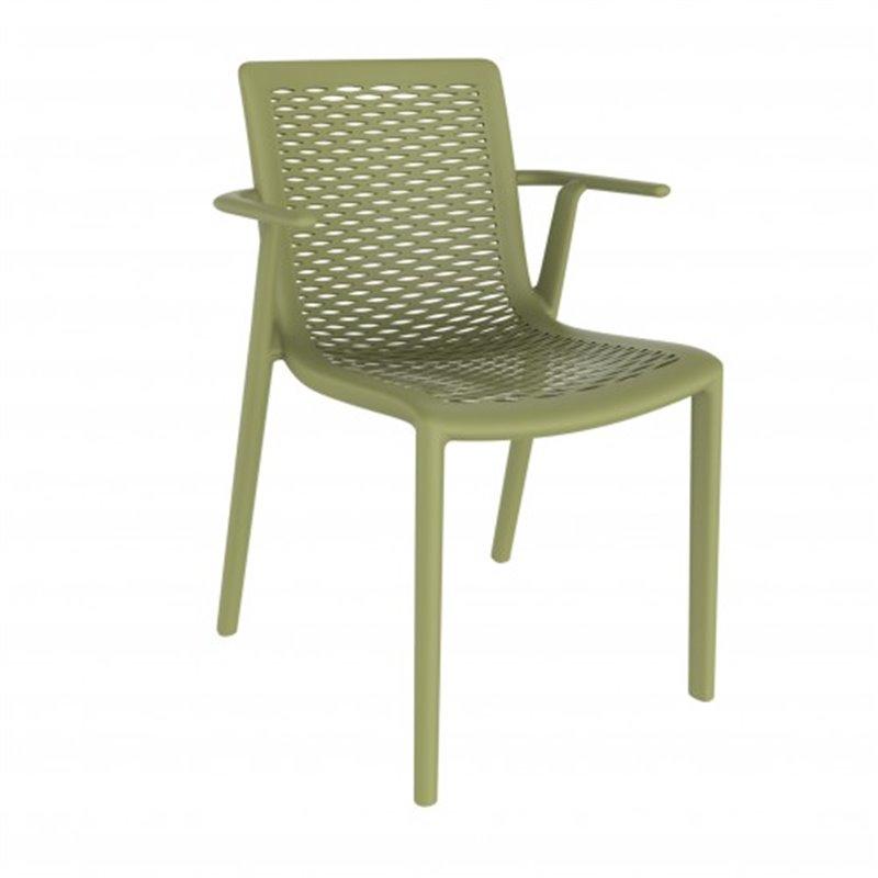 Lot de 2 chaises vertes avec accoudoirs Netkat Resol
