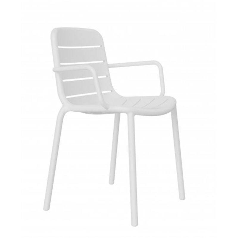 Lot de 2 chaises blanches avec accoudoirs Gina Resol