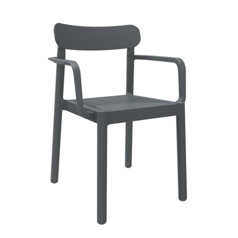 Lot de 4 chaises gris foncé avec accoudoirs Elba Resol