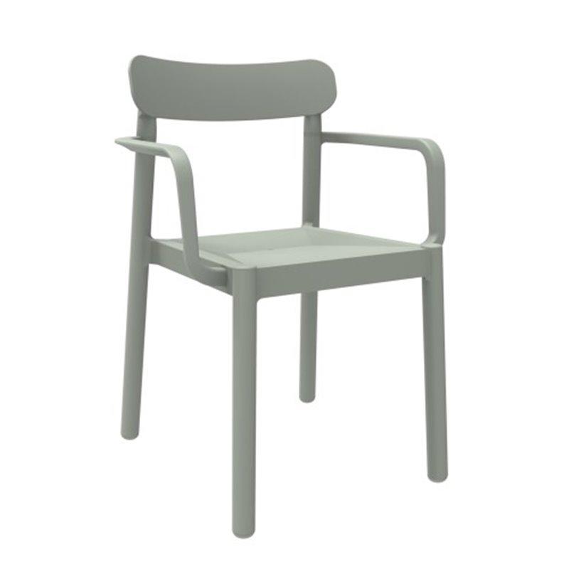 Lot de 4 chaises gris-vert avec accoudoirs Elba Resol