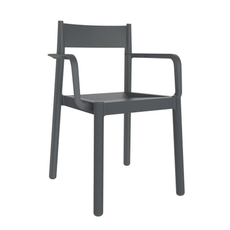 Lot de 4 chaises gris foncé avec accoudoirs Danna Resol