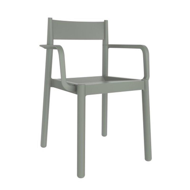Lot de 4 chaises gris-vert avec accoudoirs Danna Resol