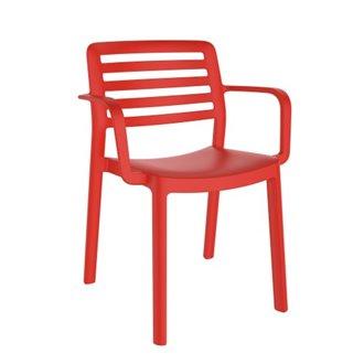 Lot de 4 chaises rouges avec accoudoirs WIND Resol