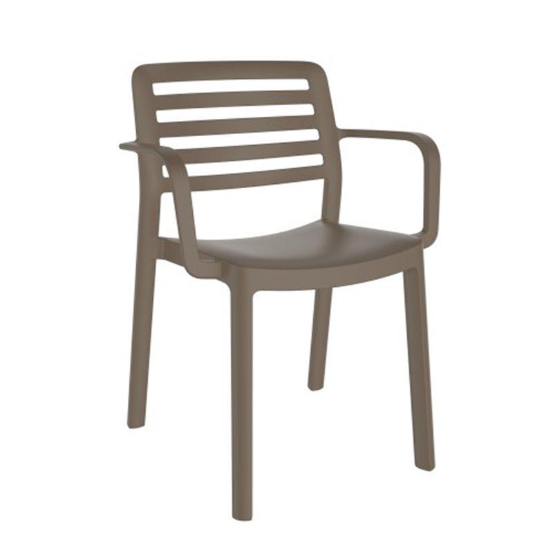 Lot de 4 chaises chocolat avec accoudoirs WIND Resol
