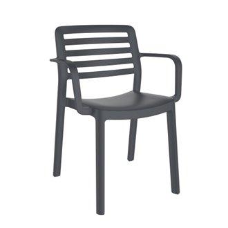 Lot de 4 chaises gris foncé avec accoudoirs WIND Resol
