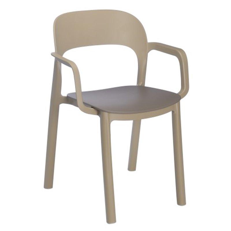 Lot de 4 chaises sable et chocolat avec accoudoirs ONA de Resol