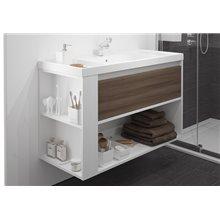 Meuble avec plan vasque en résine Frêne/Blanc 100 cm B-Smart Bath+