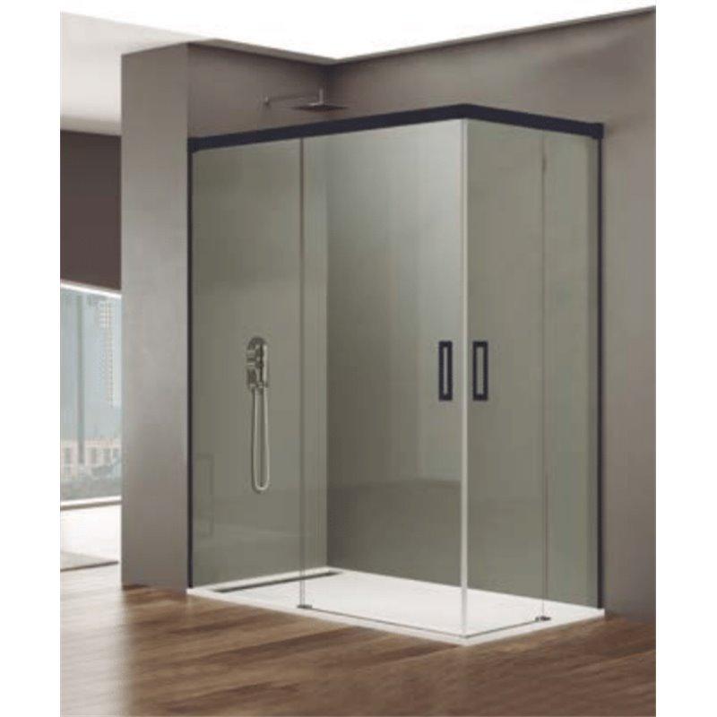 Pare-douche d'angle 2 portes coulissantes BASIC NOIR GME