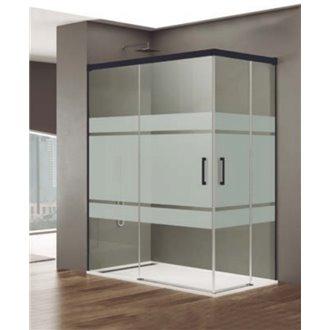 Pare-douche d'angle décoré 2 portes coulissantes BASIC NOIR GME