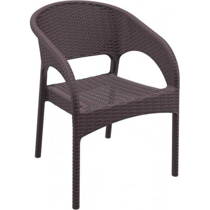 Lot de 4 chaises marron avec accoudoirs Panama Resol