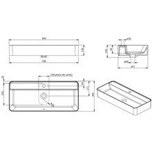 Plan vasque rectangulaire Sanlife 80 x 35 (avec perçage) Sanindusa