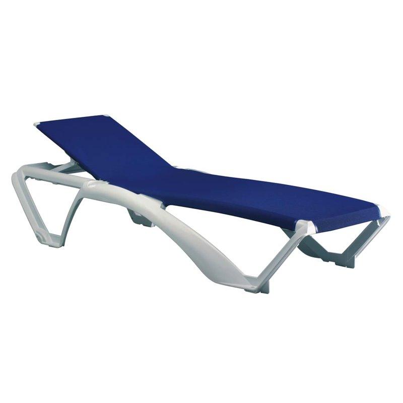 Lot de 2 chaises longues blanches avec textilène bleu Marina Club Resol