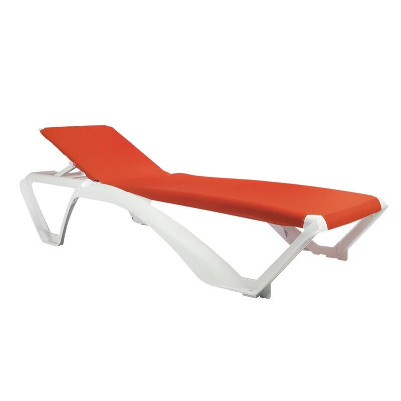 Lot de 2 chaises longues blanches avec textilène orange Marina Club Resol