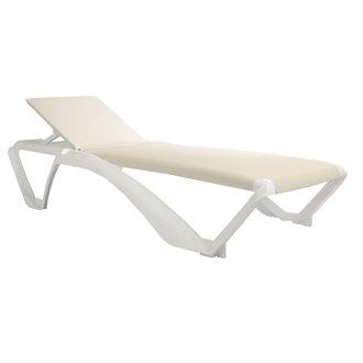 Lot de 2 chaises longues blanches avec textilène beige Marina Club Resol