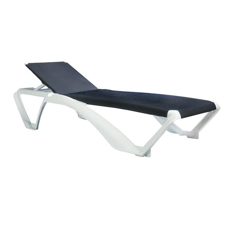 Lot de 2 chaises longues blanches avec textilène bleu jean Marina Club Resol