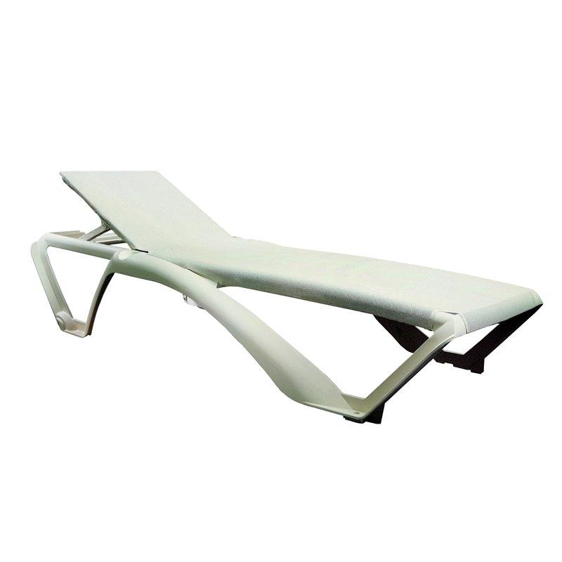 Lot de 2 chaises longues ivoire avec textilène beige Marina Club Resol
