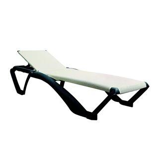 Lot de 2 chaises longues gris foncé avec textilène beige Marina Club Resol