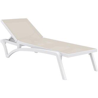 Lot de 2 chaises longues blanches et textilène bleige Capri Resol
