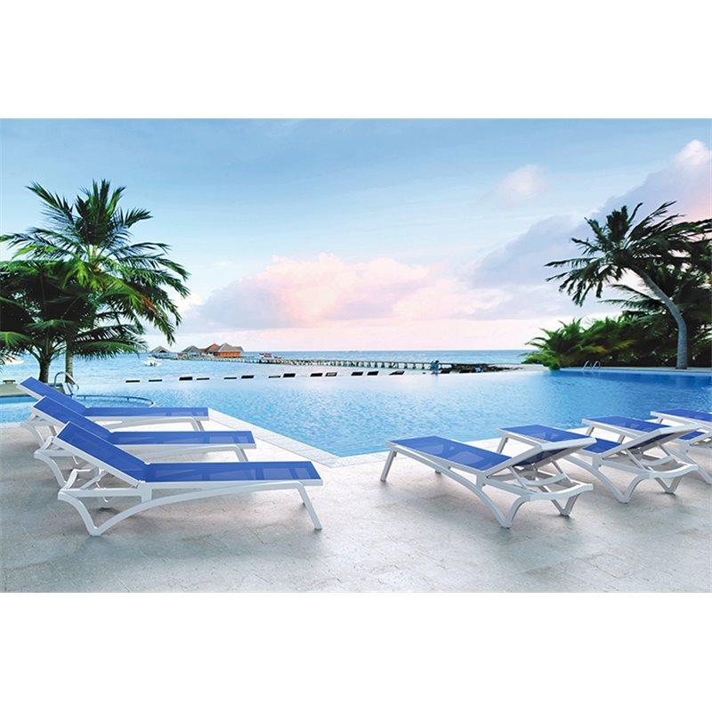 Lot de 2 chaises longues blanches et textilène bleu Capri Resol