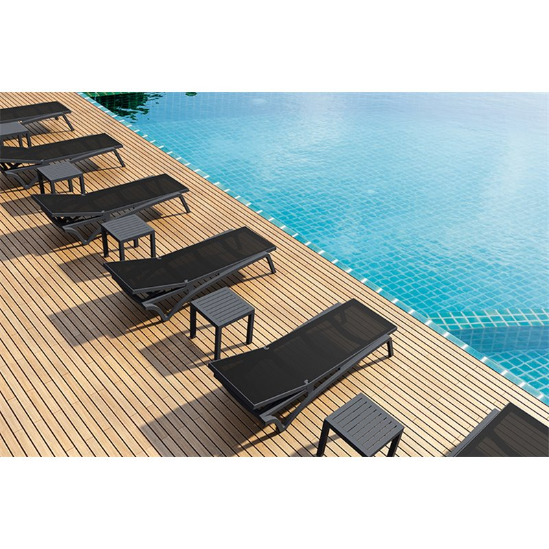Lot de 2 chaises longues grises et textilène noir Capri Resol