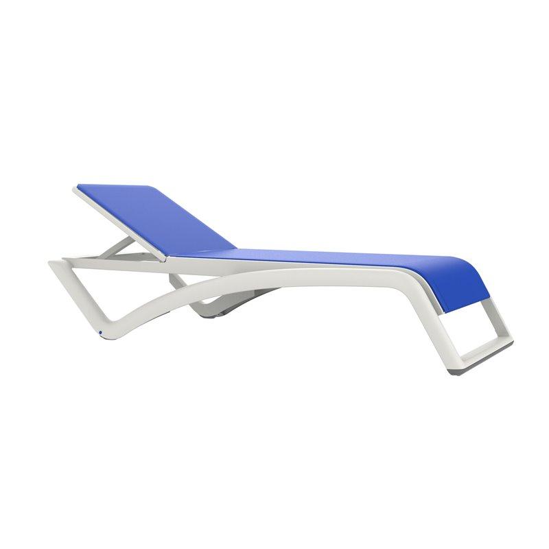 Lot de 2 chaises longues blanches et textilène bleu Sky Premium Resol