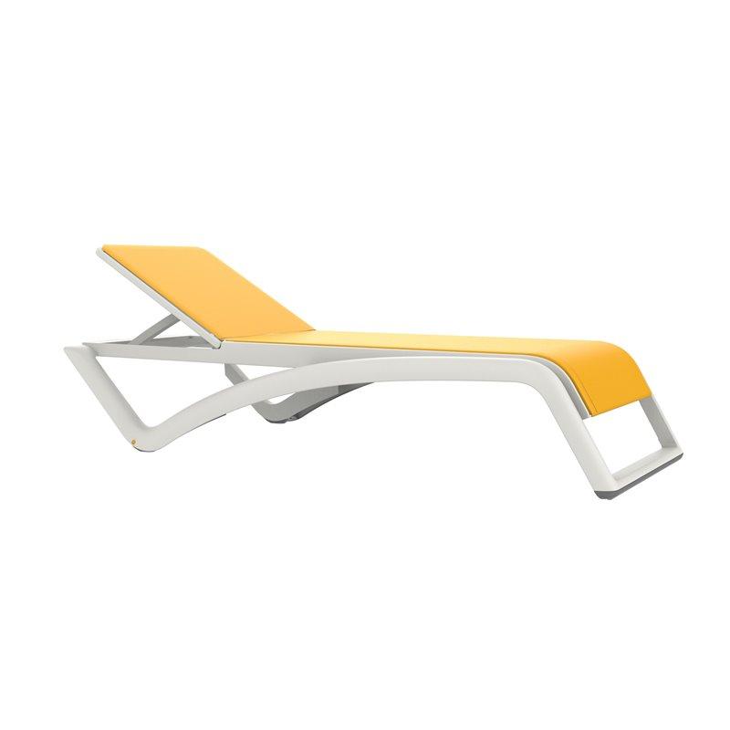 Lot de 2 chaises longues blanches et textilène jeune Sky Premium Resol