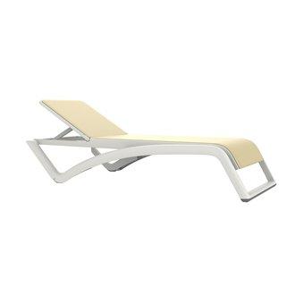 Lot de 2 chaises longues blanches et textilène écru Sky Premium Resol