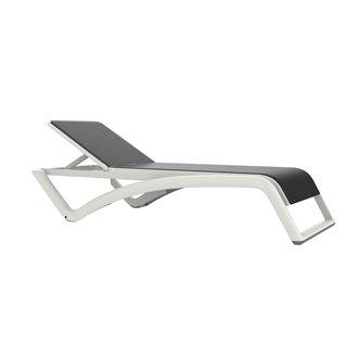 Lot de 2 chaises longues blanches et textilène gris-noir Sky Resol
