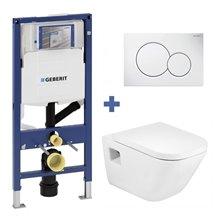 Pack WC suspendu GAP Roca et réservoir Geberit DUOFIX 12cm