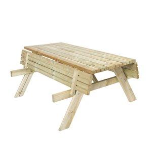 Table de pique-nique en bois 200x154x74cm Gardiun avec bancs rabattables