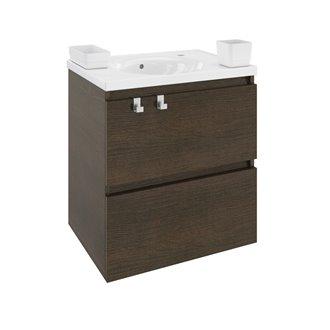 Meuble avec plan vasque en résine 60 cm Chêne chocolat B-Box Bath+