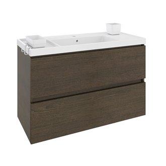 Meuble avec plan vasque en résine 100 cm Chêne chocolat B-Box Bath+
