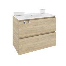 Meuble rectangulaire chêne nature avec plan vasque en porcelaine 80 cm B-Box Bath+