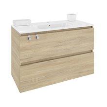 Meuble rectangulaire chêne nature avec plan vasque en porcelaine 100 cm B-Box Bath+