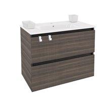 Meuble rectangulaire frêne avec plan vasque en porcelaine 80 cm B-Box Bath+