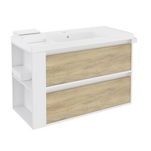 Meuble blanc-chêne nature/blanc avec plan vasque en résine 100 cm avec 2 tiroirs B-Smart Bath+