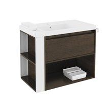 Meuble chêne chocolat/blanc avec plan vasque en résine 80 cm B-Smart Bath+