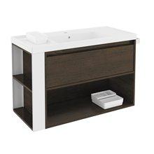 Meuble chêne chocolat/blanc avec plan vasque en résine 100 cm B-Smart Bath+