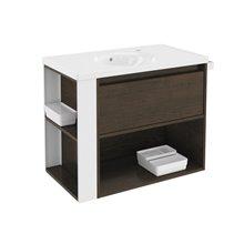 Meuble chêne chocolat/blanc avec plan vasque en porcelaine 80 cm B-Smart Bath+
