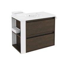 Meuble chêne chocolat/blanc avec plan vasque en porcelaine 80 cm avec 2 tiroirs B-Smart Bath+